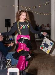 """Twist & Shout,"" Jacquelyn Taylor, model; Loring Boak, Evvie Prince, Maia Pietra, Jacquelyn Taylor, makers, Brunswick Jr. High School, Cory Buckanan, art teacher32"