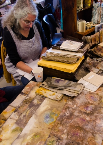 Velma Bolyard's eco-dyed papers and fabric