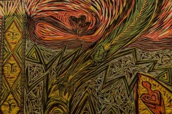 Linocut and woodcut by Patti Scobey