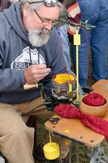 sock knitting at the fair