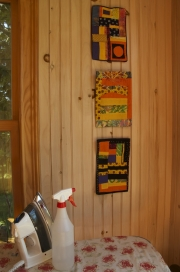 Peg Parsons made a series of small quilts for the freeform quilting class.