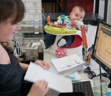 Jessica, the Administrative Assistant ,with her little helper-to