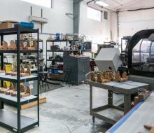 In the machine shop.