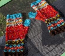 Knitted Fair Isle Fingerless Gloves