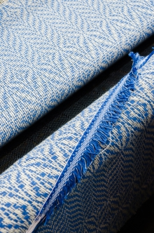 Overshot woven fabric.