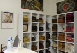 Shelves of fabrics
