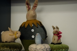 Bunny and bird pin cushions