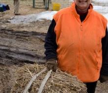 Proud Nina takes a break to admire her farm