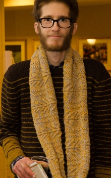 Scarf hand knit by his girlfriend