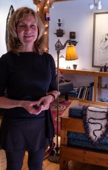 Susan Mills greeting visitors