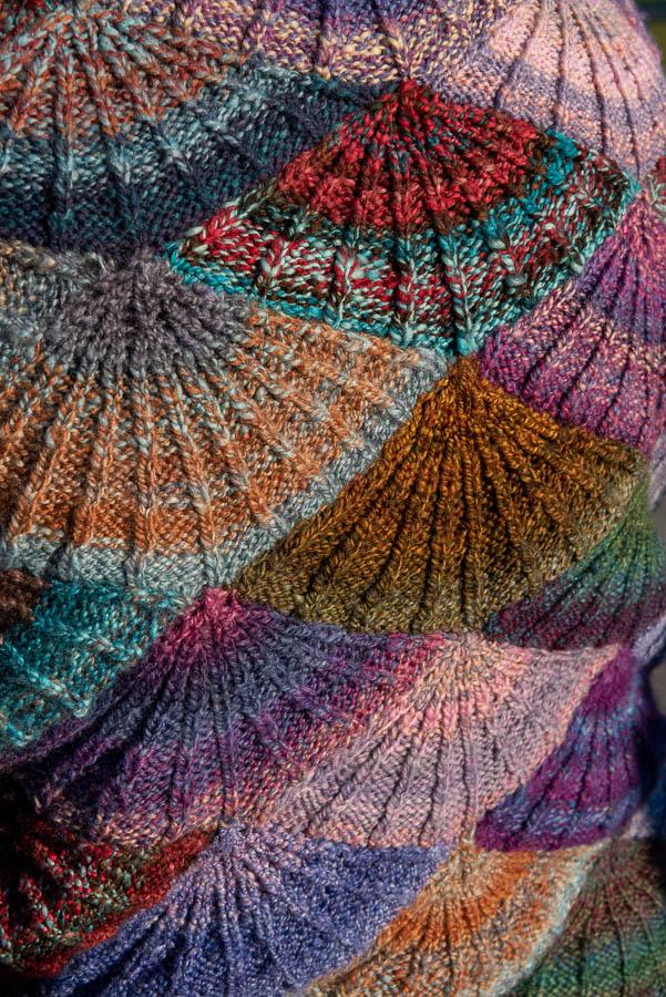 scalloped shell stitch with blue, orange, red, purple