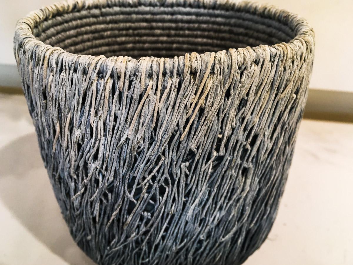 black, grey, white basket